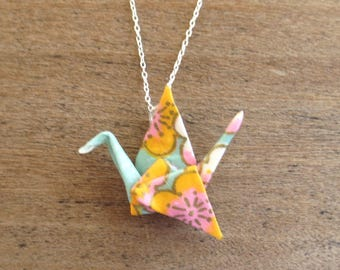 Orange and Teal Paper Crane Necklace, Cute Origami Necklace, Paper Crane Pendant, Asian Necklace, Asian Jewelry, Kawaii Necklace