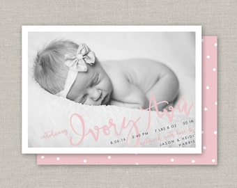 Baby Girl Birth Announcement - Ivory