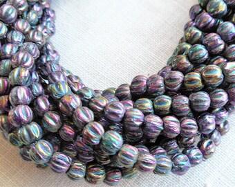 Lot of 100 3mm Metallic Purple Iris melon beads, Czech pressed glass beads C0650