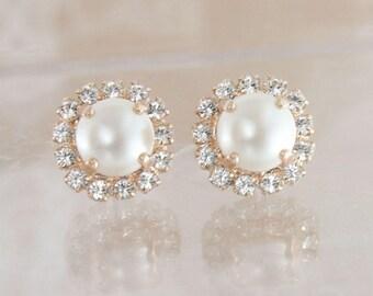 Rose gold earrings,rose gold pearl earrings,rose gold wedding jewelry,rose gold bridal jewelry,Swarovski Cream pearl,pearl earrings,pearl