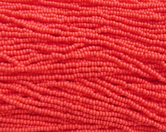 8/0 Opaque Coral Czech Glass Seed Bead Strand (CW44)