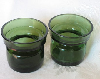 Dansk IHQ Denmark Mid Century Pair Green Glass Votives