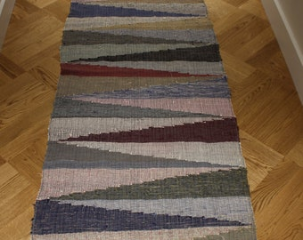 Vintage Hungarian Rag Rug. Multi Coloured. Hall Runner. Long Corridor Rug.