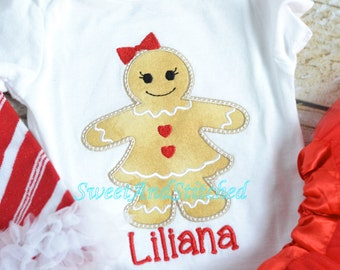 Girls Christmas Gingerbread shirt personalized, personalized girls christmas outfit, gingerbread girl outfit!  Personalized christmas outfit
