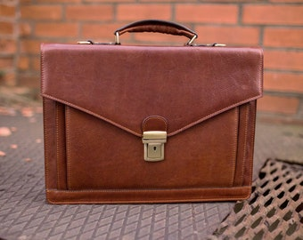 """Men's Leather briefcase, Personalized leather bag, 15"""" laptop portfolio, Leather Attache, Brown Mens briefcase, Graduation gift - The Magus"""