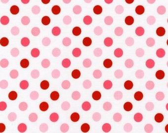 Pink and Red Polka Dot Cotton Fabric -  Spot On by Robert Kaufman Fabrics - Perfect for Nursery, Clothing, and Quilts