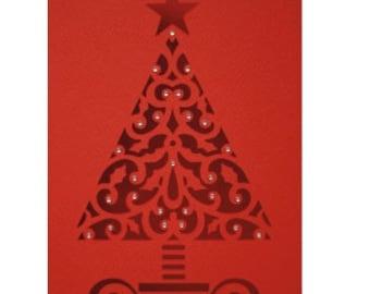 1 Christmas Tree PaperCut Card with Rhinestones , Blank inside  , Holidays , Magical