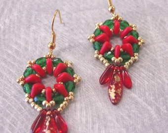 Red, Green, and Gold Heirloom Earrings