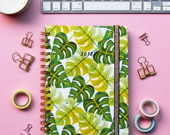 FREE SHIPPING Daily Planner 2018   12 Months Planner   Choose your start month   Tropicalia design