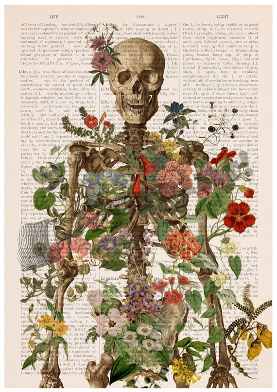 Skeleton covered with flowers. Bones study art. Wall decor, Anatomical art decor, anatomical art, Wall decor flowers, Medical gift SKA146PA3