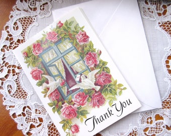 Vintage Pink Rose Thank You Cards with Matching Envelopes Unused Thank You  Card - set of 8.