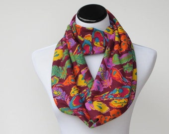 Feathers infinity scarf soft jersey knit scarf boho bohemian burgundy maroon green purple lilac orange colorful scarf - loop scarf