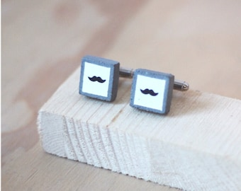 Square Concrete Cufflinks with Mustaches / Moustaches