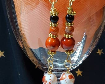 Orange Dangle Earrings with Goldtone Accents