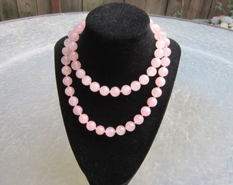 Vintage Rose Quartz individually knotted beads necklace  - estate jewelry