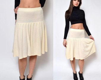 Vintage White Knit Accordion Pleated Wool Skirt