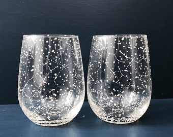 STEMLESS Starry Stemless Wine Glasses - Set of 2 Handpainted Star Constellation Wine Glasses