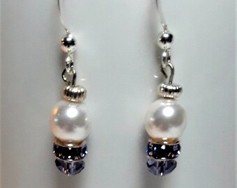 Swarovski Pearl and Tanzanite Crystal Earrings