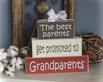 "Grandparents Wood Block Stack: ""The Best Grandmas Get Promoted to Great-Grandmas"" - Pregnancy announcement, Grandma, Grandparents"