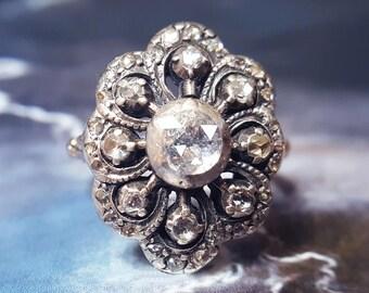 Antique Engagement Ring | Vintage Engagement Ring | Diamond Engagement Ring | Diamond Cluster Ring | Georgian Engagement Ring Georgian Ring