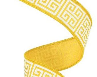 """1.5"""" Yellow White Greek Key Ribbon (10 Yard)"""