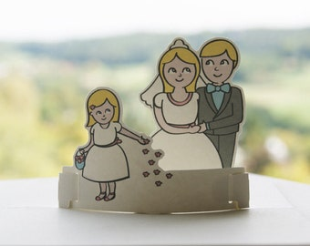 "Wedding Card pop-up card ""wedding Couple with flower girl"" greeting card wedding card to wedding invitation Holland Design"