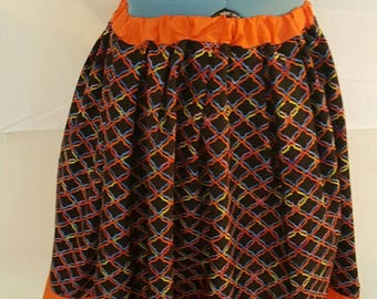 Orange/Black A-Line Skirt