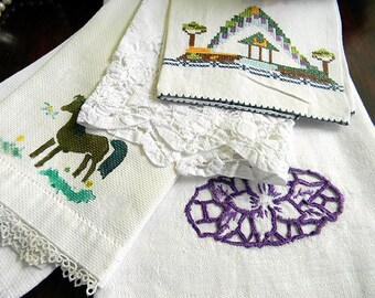 5 Guest Towels Embroidered - Fingertip Hand Towels 5783