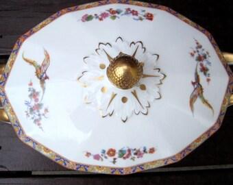 Black Knight Czecho-Slavakia Bone China Serving Bowl with Lid Vintage