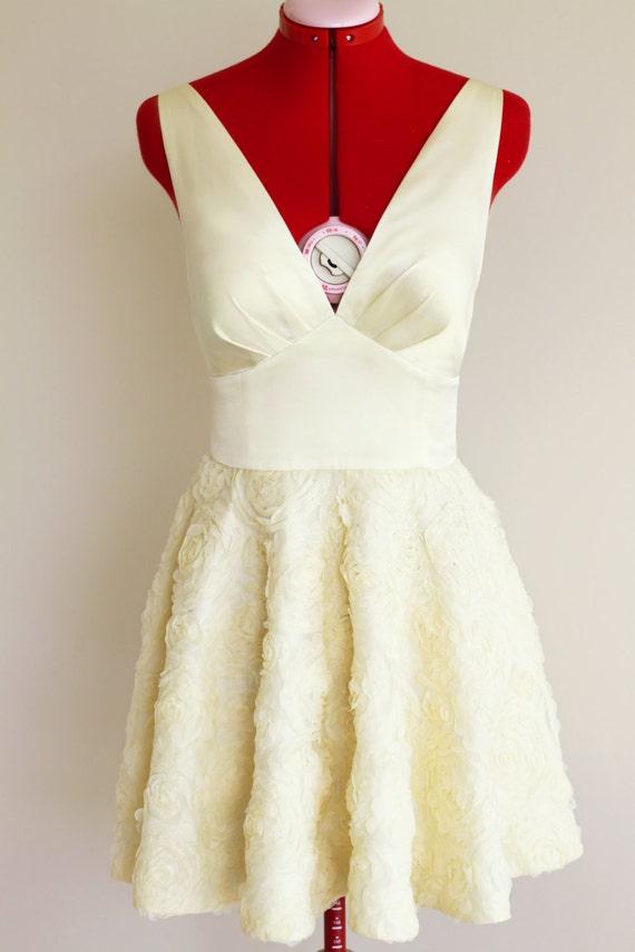 Creme Cocktail-Kleid voller Rock Kleid 50er Jahre Kleid