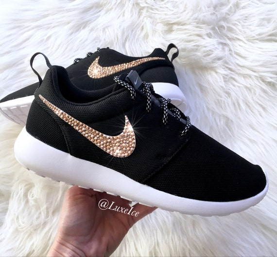 Nike Roshe One Black/White/Metallic Platinum customized with Rose Gold  SWAROVSKI® Xirius Rose-Cut Crystals.
