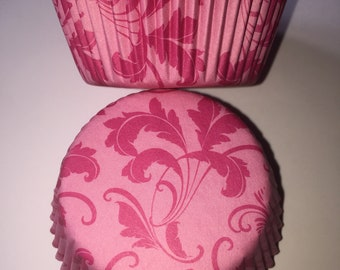 Pink Damask Vintage Style Cupcake Cases