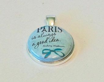 Elegant Light Blue Paris is Always a Good Idea Round Silver Pendant