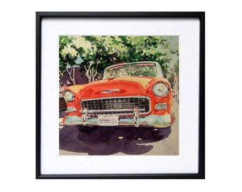 Vintage  Cars, Classic Chevy, Watercolor PRINT, Red Cars, Realism Art, WatercolorbyMuren