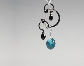 Indicolite Swarovski Crystal Industrial Pendants, Swarovski Necklace, Aqua Crystals, Graceful Jewelry, Unique Jewelry, Helike v4