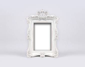 Antique White Shabby Chic Distressed Frame, Creamy White Vintage Frame, Baroque Roses Wedding Frame, Charming English Cottage, Paris Chic