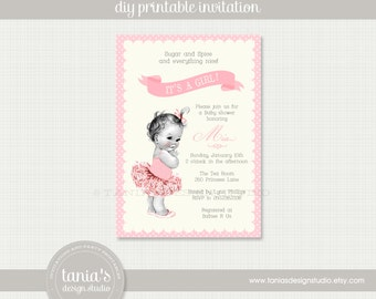 Vintage Baby Ballerina Shower Printable Invitation by tania's design studio