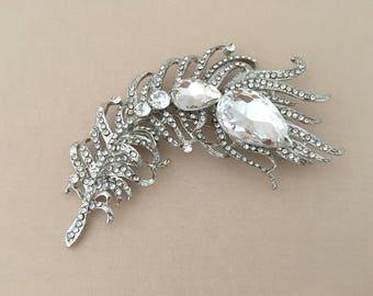 Clear Feather Brooch.Clear Crystal Feather brooch.Clear Rhinestone Brooch.Silver Rhinestone Pin.Wedding accessory.Bridal Brooch.broach.Large
