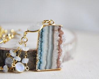 Amethyst Necklace, Raw Stone, Moonstone Necklace, Moonstone Jewelry, June Birthstone, February Birthstone, Birthstone Jewelry, Gifts for her