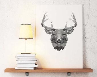 Deer Poster Geometric Art, Deer wall decor, Minimalist Abstract Print, Simple art, Minimal print, Black and white,Geometric wall art