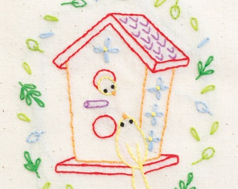 Tweet House hand embroidery pattern with iron on transfer - printed