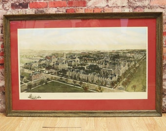University of Chicago Historic Birds Eye View Richard Rummell Watercolor Print