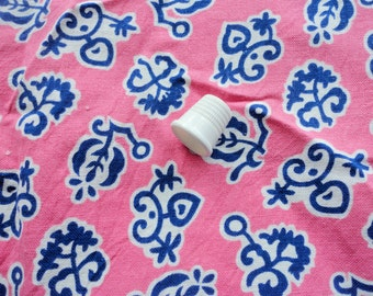 pink abstract floral print vintage full feedsack fabric