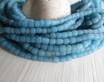 small matte blue seed beads, rustic  blue glass bead, Irregular spacer , barrel tube, New Indo-pacific  3 to 6mm / 22 in strand,7ab29-19