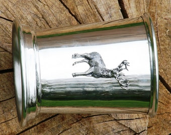 Julep Cup English Pewter Standing Stag Emblem Hunting Gift