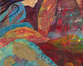 Woman of the Shaman Path. She is guided by a spirit bird that flies the skies and swims the sea. http://www.judithbirdart.com/