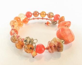 Gemstone Wrap Bracelet (Dragon's vein Agate, Tourmaline & Swarovski Crystal)