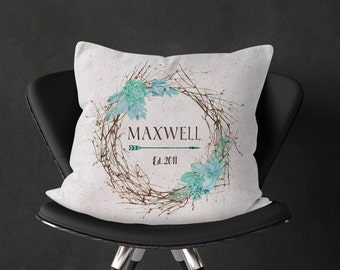 Custom Last Name and Anniversary Date Pillow Cover, Eucalyptus & Succulent Wreath, Wedding and Housewarming Gift