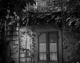 The Back Stair Fine Art Photography Black and White Italy Montefioralle Tuscany Dreamy Romantic Spiral stairway mysterious dark fantasy art