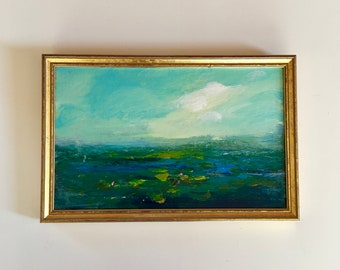 Lilypond Painting- Marsh Painting -Original - Framed Art -8-1/2 x 13 including frame- Ready to Hang